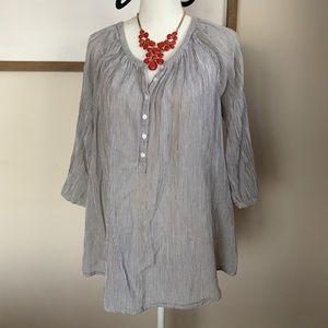grey/white striped quarter-button tunic